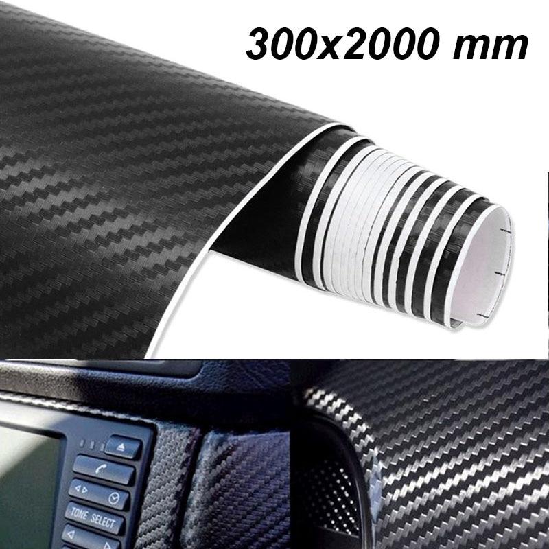300mm x 2000mm película de vinilo 3D de fibra de carbono pegatina de coche resistente al agua estilo de coche envoltura Auto vehículo accesorios de detalle motocicleta