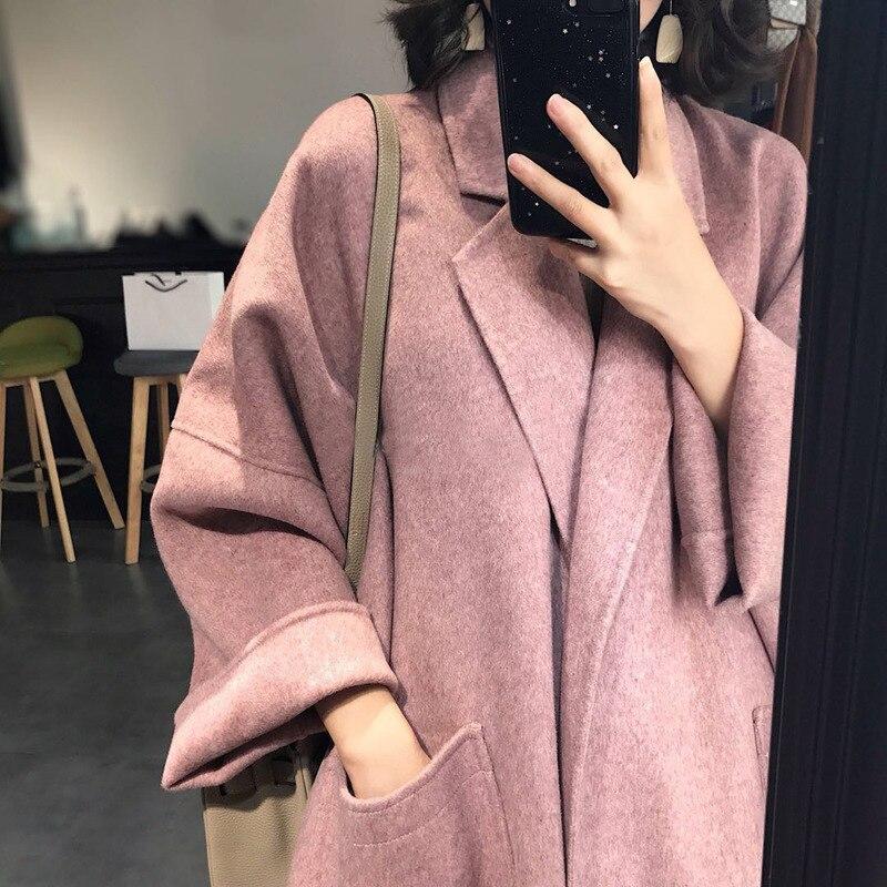 Abrigos de lana holgados para Mujer, abrigo femenino de lana de sección...