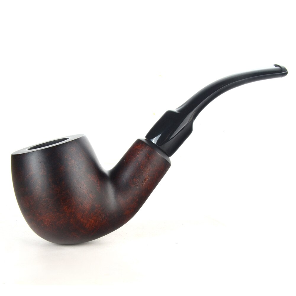 Pipas de brezo, Pipa para fumar tabaco, acabado liso, filtro de 9mm, gran forma de tubo doblado # CK1017