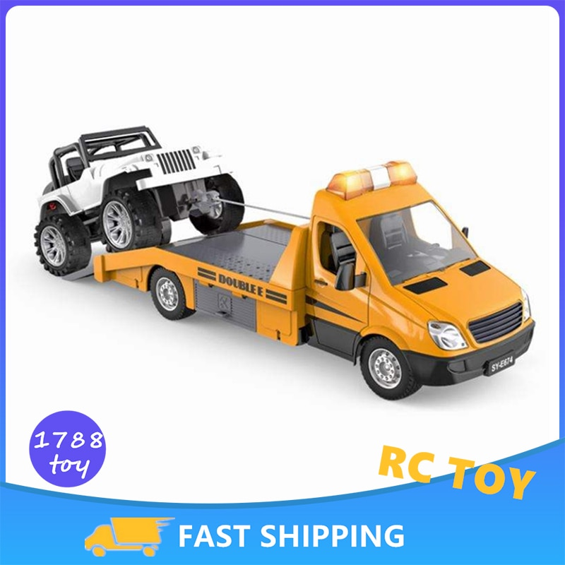 Double E E674 1/18 Rc Truck Model Tractor Trailer 2.4G Radio Controlled Car Traffic Police Road Wrecker Construction Vehicle Toy