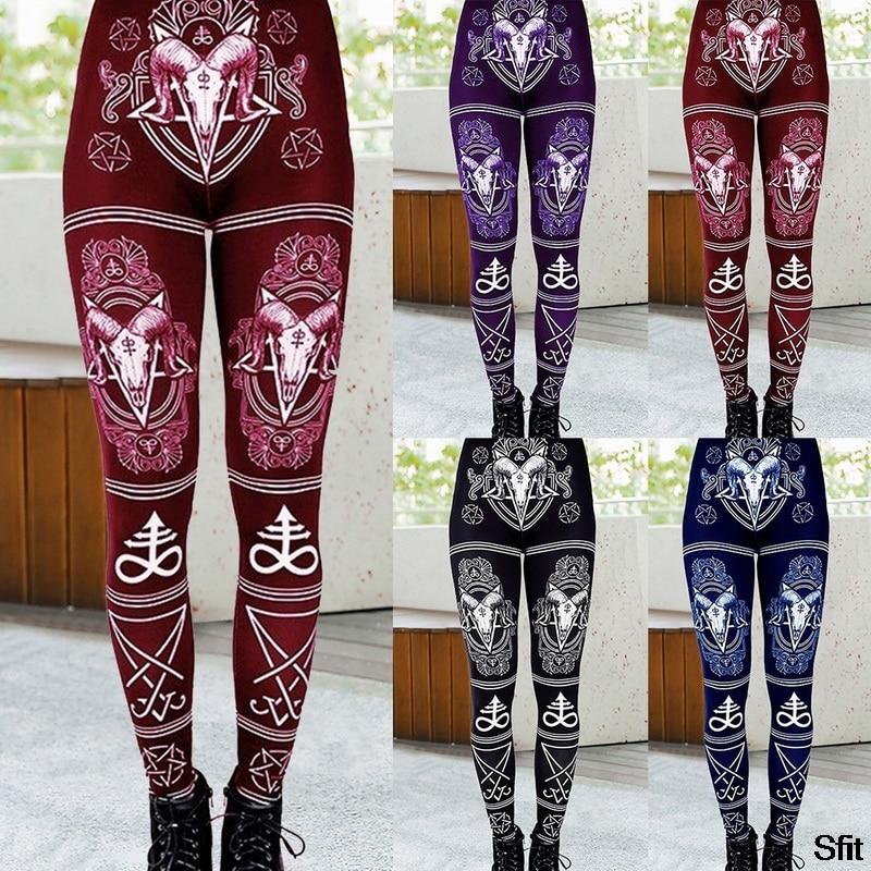 Mallas ajustadas de cintura alta sexis de moda para mujer de Sfit, pantalones de gran elasticidad para Fitness, pantalones de Yoga, Legging de alta calidad con estampado