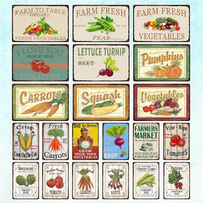 Letrero metálico decorativo en casa Vintage de hojalata para verduras, placa de decoración para pared, decoración para jardín y cocina, decoración de 20x30cm