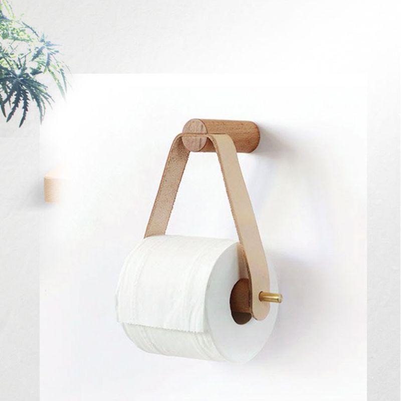 Nórdico creativo Portarrollos de papel higiénico de madera Almacenamiento de baño cocina dispensador de toallas Accesorios