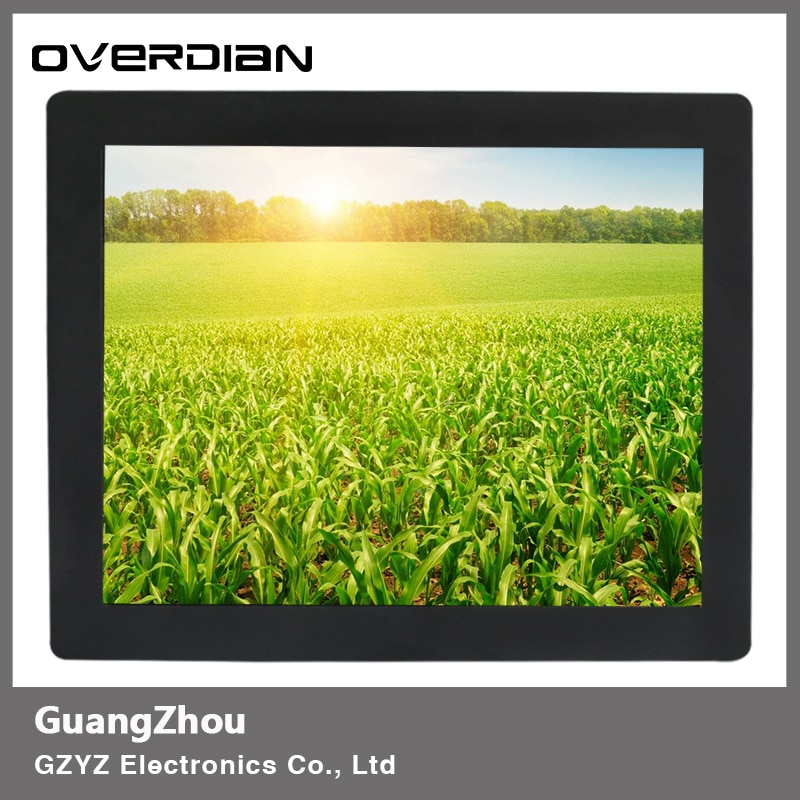 """15"""" 15 Inch Display Industrial Monitor VGA Interface Metal Shell Resolution 1024*768 Touch Screen Buckles Mounting For Factory"""