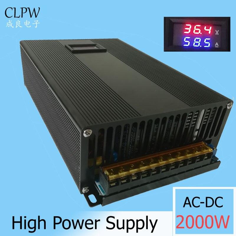 Przełączanie zasilania cyfrowy 2000w DC 0-24V 36V 55A 48V 42A 55v 60V sterownik Led światła transformator krokowy moter AC-DC SMPS
