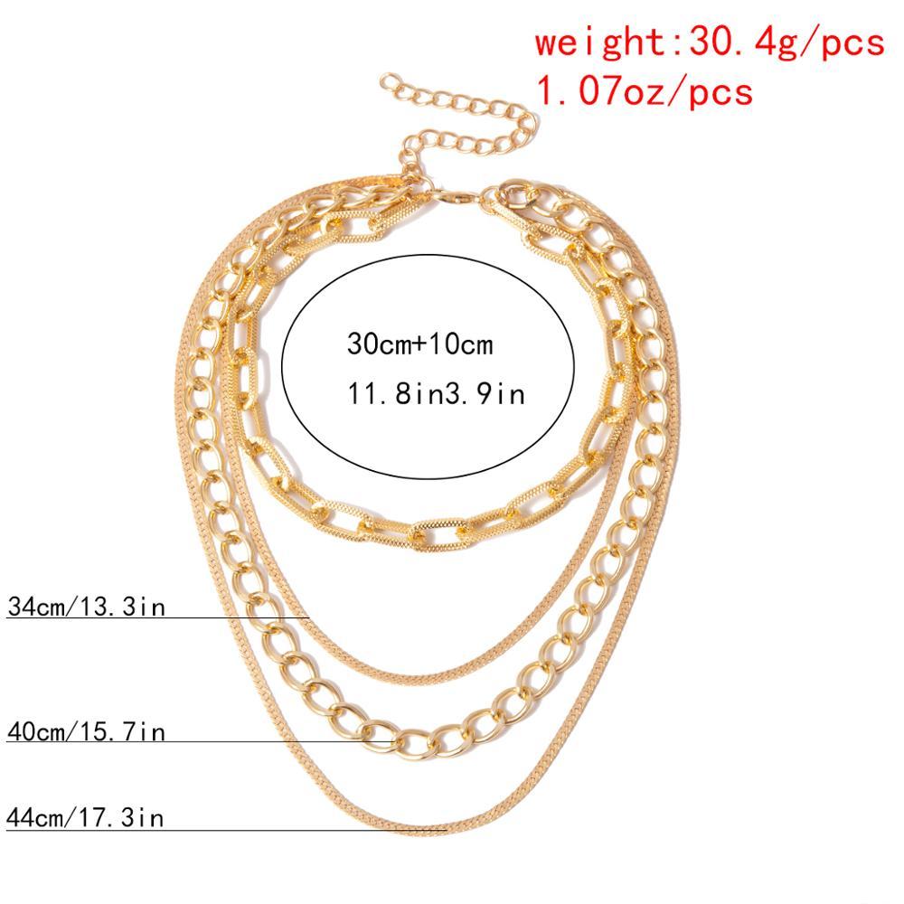 Купить с кэшбэком Gothic Punk Cuban Choker Necklace Collar Statement Women Men Multi Layer Aluminum Thick Chain Chunky Necklace Steampunk Jewelry