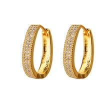 Bettyue boucle doreille de forme circulaire moderne avec de petites pierres cubiques décoration élégante en Banquet pour cadeau classique féminin