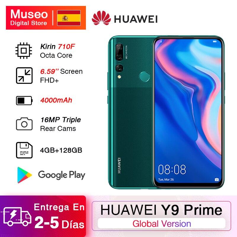 Versión Global HUAWEI Y9 primer 2019 teléfono inteligente 4GB 128GB Kirin 710F 6,59 16MP AI Triple cámaras traseras 16MP Pop cámara frontal