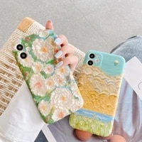 art retro oil painting landscape flowers phone case for iphone 11 pro max xr x xs max 7 8 puls se 2020 cases soft silicone cover