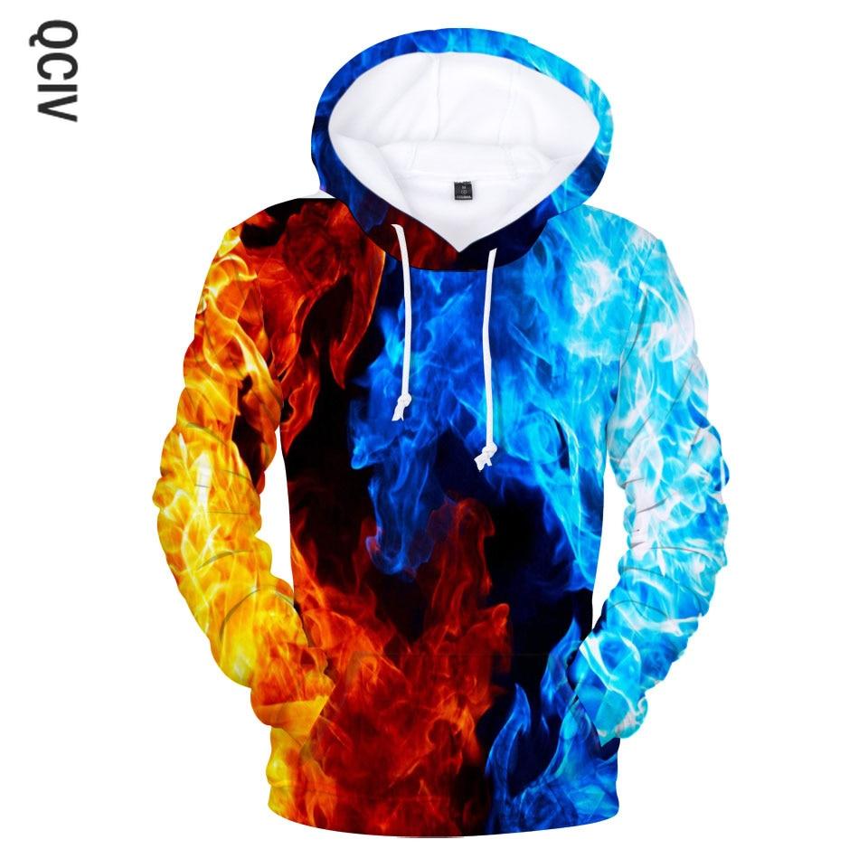 Yellow And Blue 3D Fire autumn Men Sweatshirt Women Hoodies outwear Winter Handsome Hooded Male 3D Hoody hio hop clothes