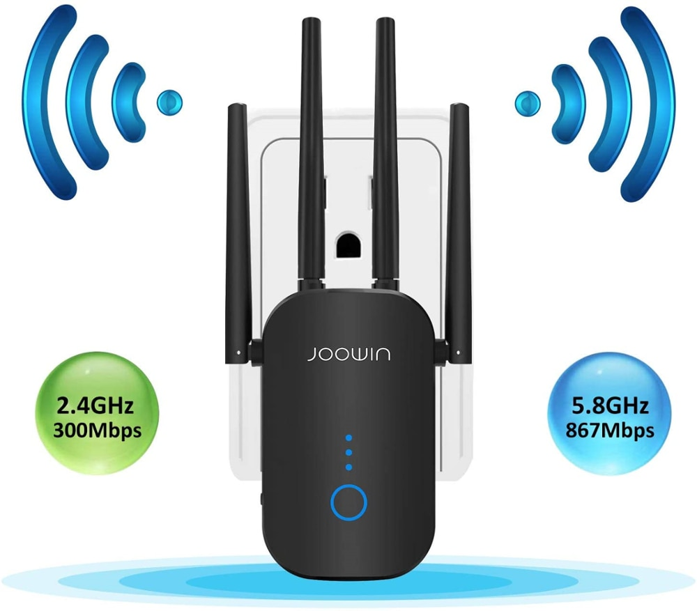 JOOWIN 1200Mbp WiFi Extender Signal Booster for Home WiFi Repeater Dual Band 2.4 & 5GHz JW-WR768AC