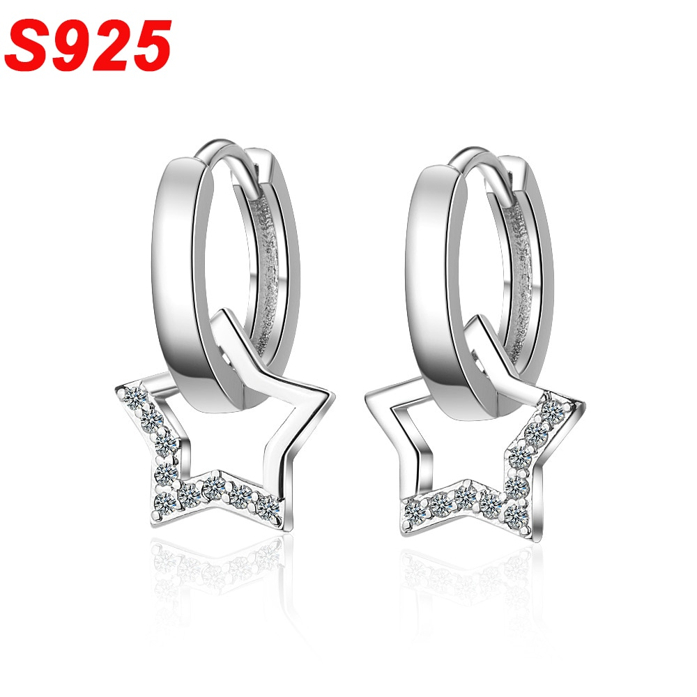 Minimalista 925 Plata de Ley Mini pendientes de aro pequeño círculo redondo estrella aros de oreja creol Boucle Doreille mujer Jewerly SE056