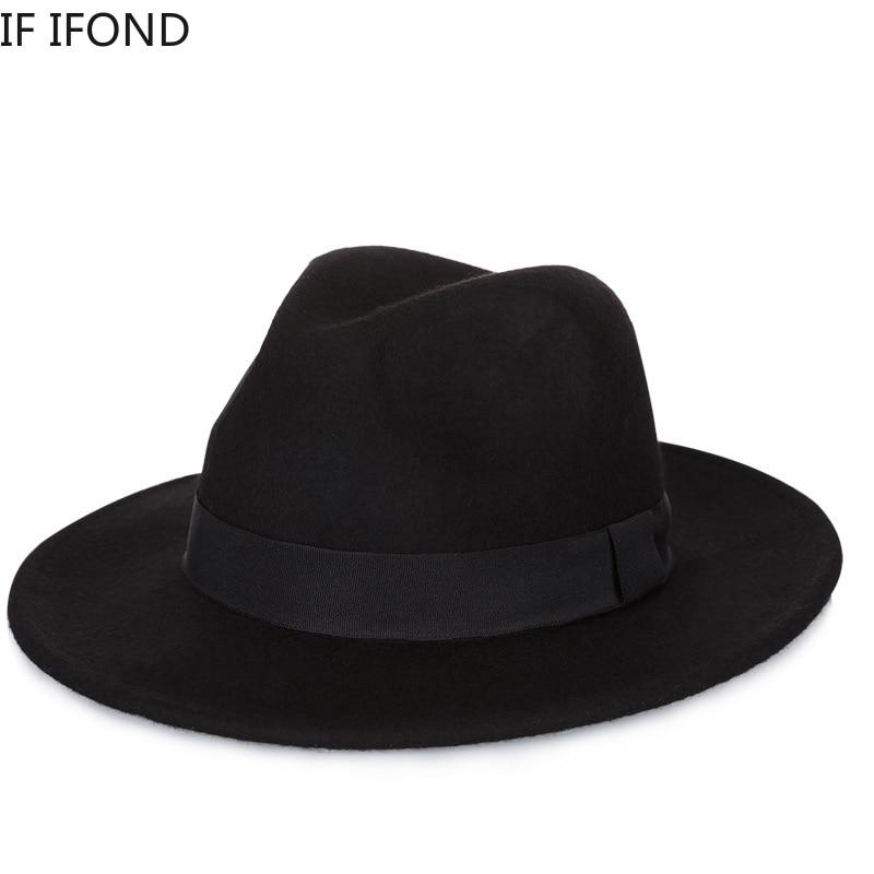 High Quality Wool Fedoras Hat Vintage Wide Brim Trilby Felt Jazz Hats For Women Men Autumn Winter Ch