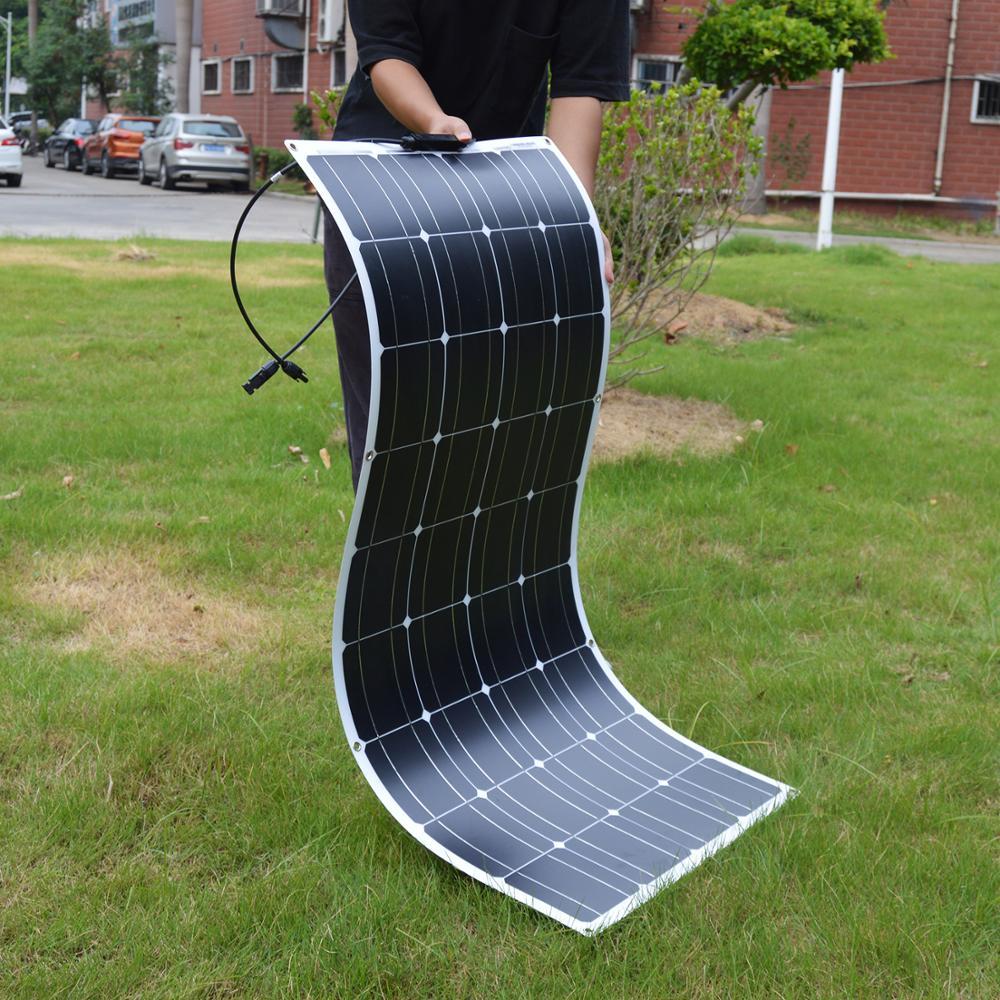12 فولت 100 واط مرنة الالواح الشمسية الاحادية للسيارة/قارب/المنزل البطارية الشمسية يمكن شحن 12 فولت لوح طاقة شمسية مضاد للمياه الصين