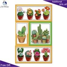 Домашний декор Joy Sunday Cactuses J165J170(1)J171(2)J217(2) 14CT 11CT штамп и счетные узоры dmc Cactuses Cross Stitch