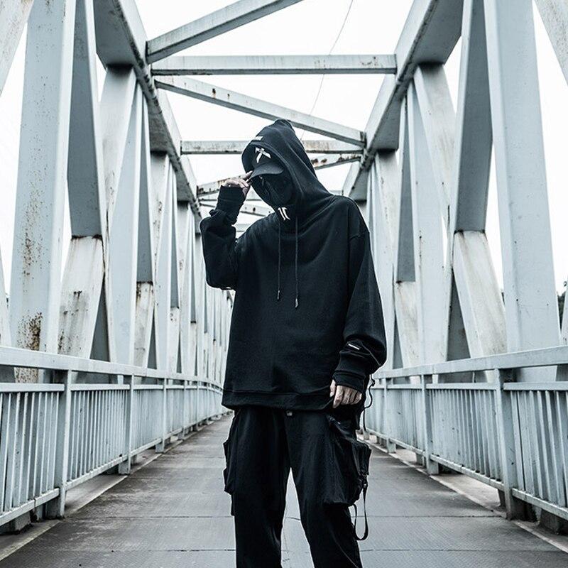 Techwear Code Drucken Hip Hop Bänder Schwarz Mit Kapuze Kordelzug Hoodie Sweatshirt Männer Ninja Kleidung Casual Stickerei Streetwear Top