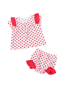 2021 0-3Y Valentine's Day Toddler Baby Girl Clothing Summer Suit Fly Sleeve Shirt Heart Printed Tops+Ruffle Elastic Shorts 2pcs