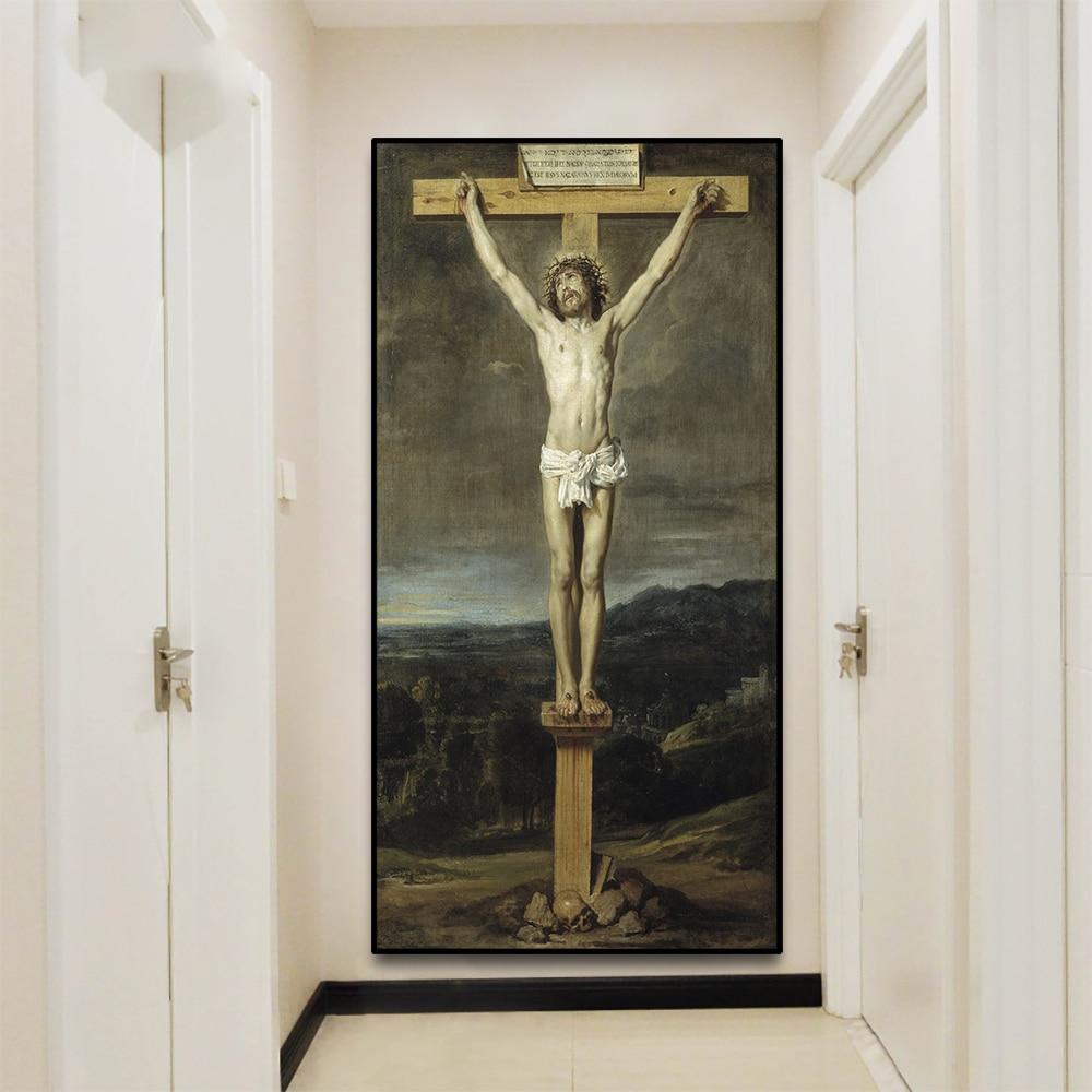 Laeacco Jesús crucificado impresiones lienzo pintura Dios cristiano decoración de Pascua para el arte de la pared sala de estar decoración del hogar cartel