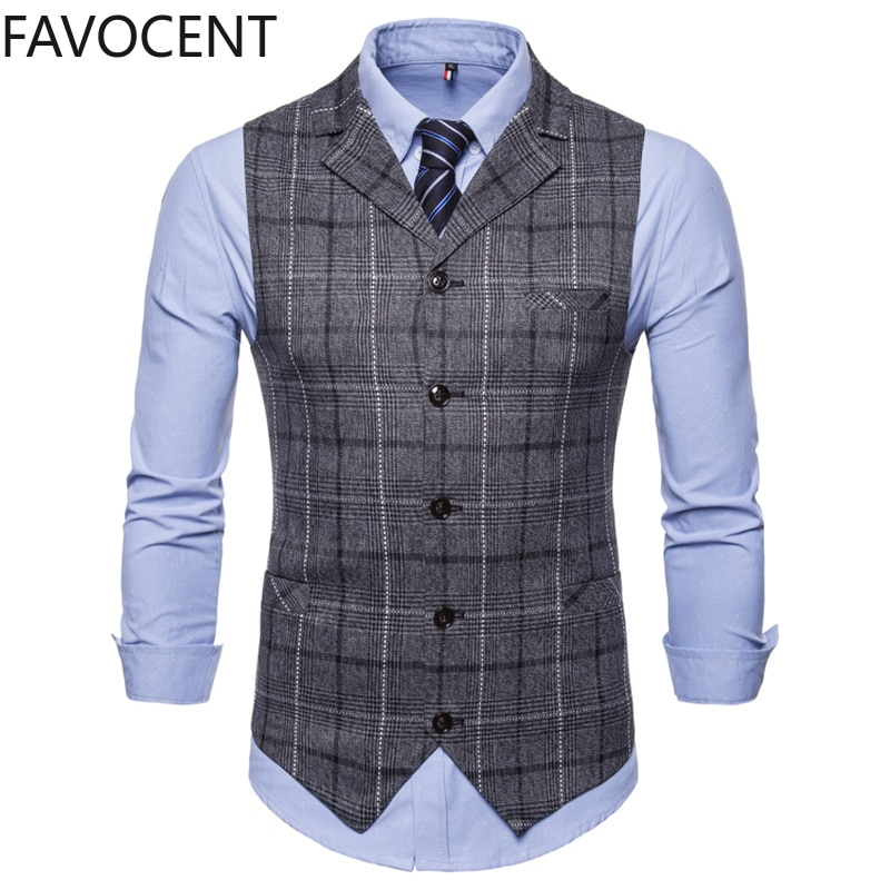 Chaleco de traje para hombre, chaqueta sin mangas, Chaleco a cuadros a la moda, Chaleco de negocios, Chaleco, Chaleco británico para hombre, Chaleco para hombres