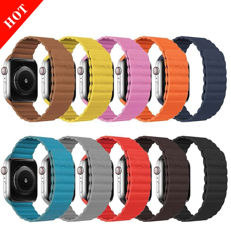 leather loop strap for apple watch 5 band 44mm 40mm iwatch band 42mm 38mm bracelet genuine leather watchband series 6 5 4 3 2 se Strap for Apple Watch 5 4 3 6 38mm 42mm Leather loop belt bracelet iWatch series 6 5 4 3 SE correa apple watch band 44mm 40mm