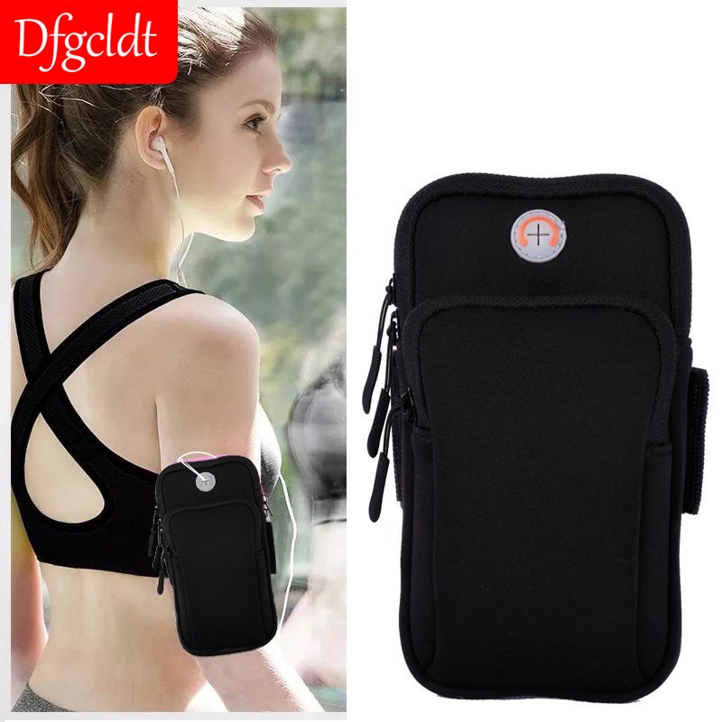6 inch sports jogging gym armband running bag arm wrist band hand mobile phone case holder bag outdoor waterproof nylon hand bag Universal 6'' Waterproof Sport Armband Bag Running Jogging Gym Arm Band Outdoor Sports Arm pouch Phone Bag Case Cover Holder
