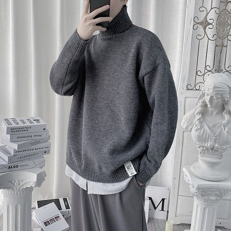 Sweater Men Turtleneck Casual Loose Solid Knitted Pullover Autumn Winter Men's Thick Streetwear Sweaters Couple Unisex 2XL-M