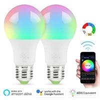 Ampoule intelligente WiFi 4 5W  lampe LED RGB a intensite reglable  lumiere de reveil  commande vocale  fonctionne avec Google Home Alexa Amazon Smart Home