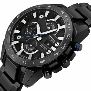 TEMEITE New Sport Chronograph Mens Watches Black Blue Hand Quartz Watch Stainless Steel Waterproof Date Clock Fashion Watches