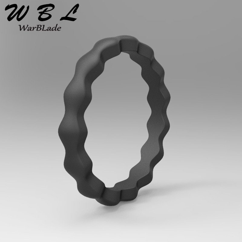 WBL 2019 nuevo anillo de silicona de grado alimenticio FDA, anillo para dedo de silicona con ondas flexibles hipoalergénicas para Crossfit, anillos de boda de 3mm para mujer