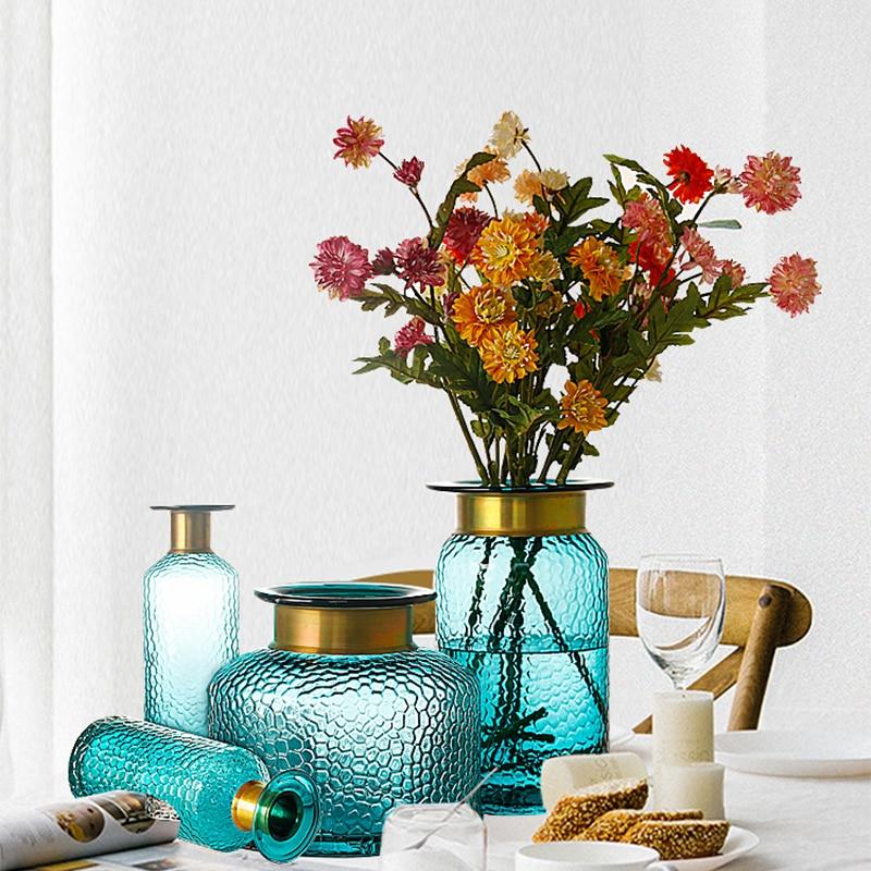 Florero nórdico Para decoración del hogar, decoración moderna de Cristal Para Sala...
