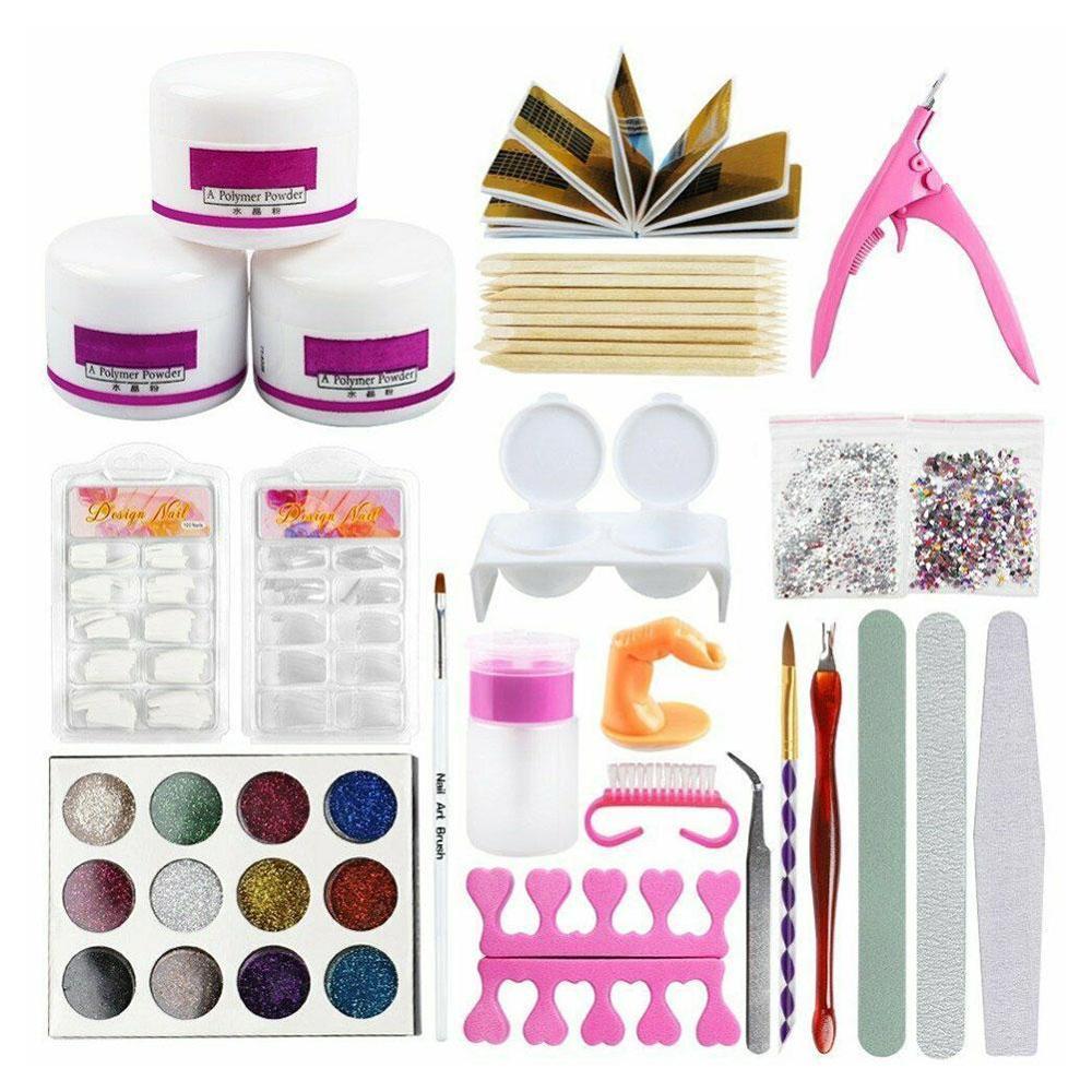 Kit de manicura crylic Nail Art, juego de 12 colores para Decoración en polvo brillante, Kit de pinceles de acrílico, Kit de herramientas para manicura para principiantes