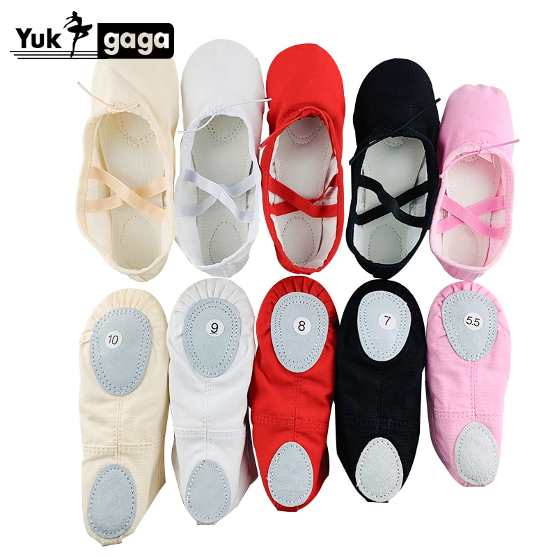 A02d2 Ballet Slippers For Girls Classic Split-Sole Canvas Dance Gymnastics Baby Yoga Shoes Kids Danc