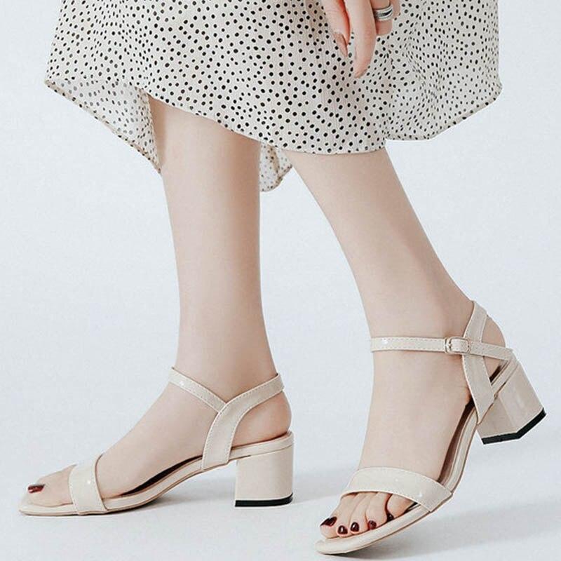 Sandalias de gladiador de charol con respaldo corredizo liso, zapatos de tacón alto gruesos para mujer, sandalias con banda de hebilla de talla grande 42/45