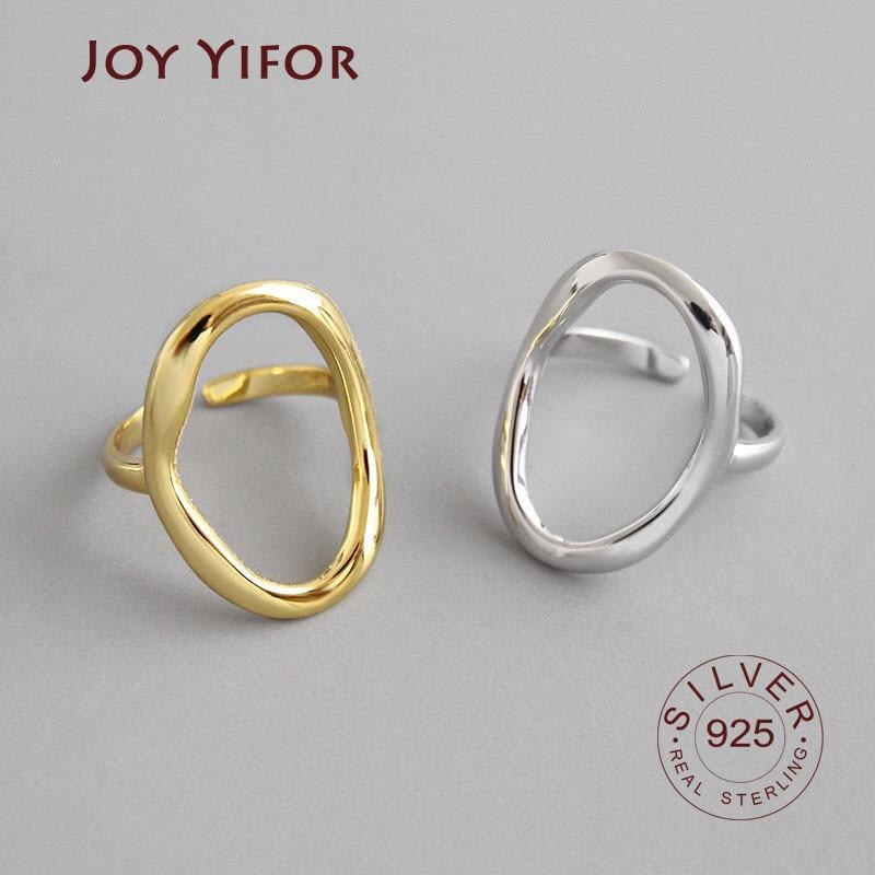 Корейская-версия-s925-серебро-Открытое-кольцо-ins-простой-геометрической-формы-полый-овал-Женский-Регулируемая-панк-Вечерние