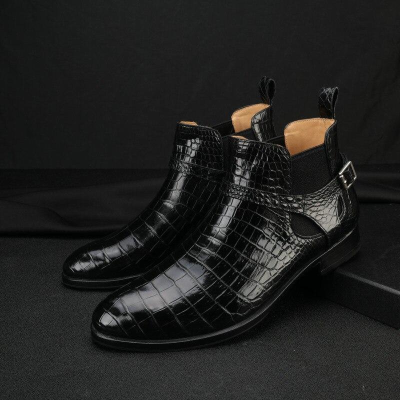Мужские ботинки-мартинсы из натуральной кожи, с острым носком