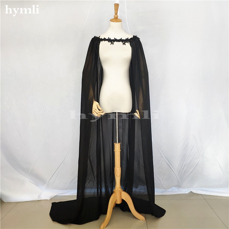 2 Meters Bridal Cape Long Black Chiffon Shawl Wedding Cloak black chiffon loose bat sleeves cape shawl top