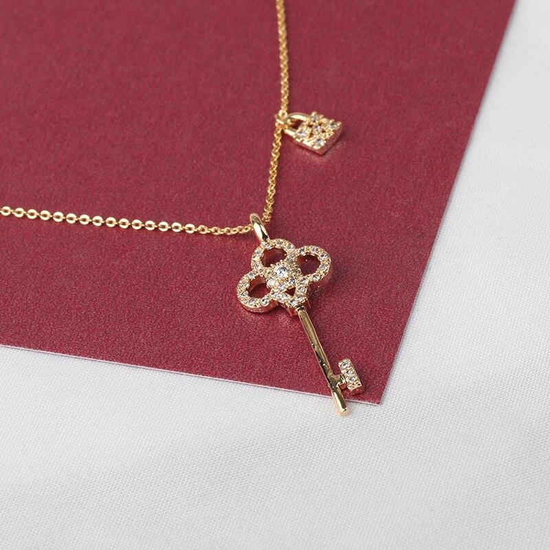 Luxo pavimentado cz pedra chave pingente colar requintado ouro pequeno bloqueio colares collier femme pendentif bijoux femme de luxe