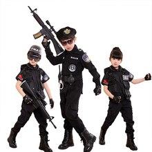 Disfraces de policía de Halloween para niños, uniforme de policía para fiesta de carnaval, conjuntos de ropa de Cosplay del ejército, 110-160cm