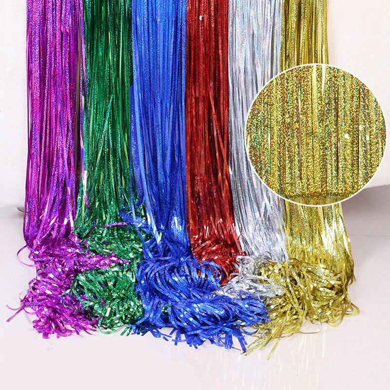 1M 2M 3M 4M Della Festa di Natale Sfondo Tende Arcobaleno Laser Metallico Pioggia Foglio di Frangia Tinsel Tenda di Cerimonia Nuziale di Compleanno Decoracion