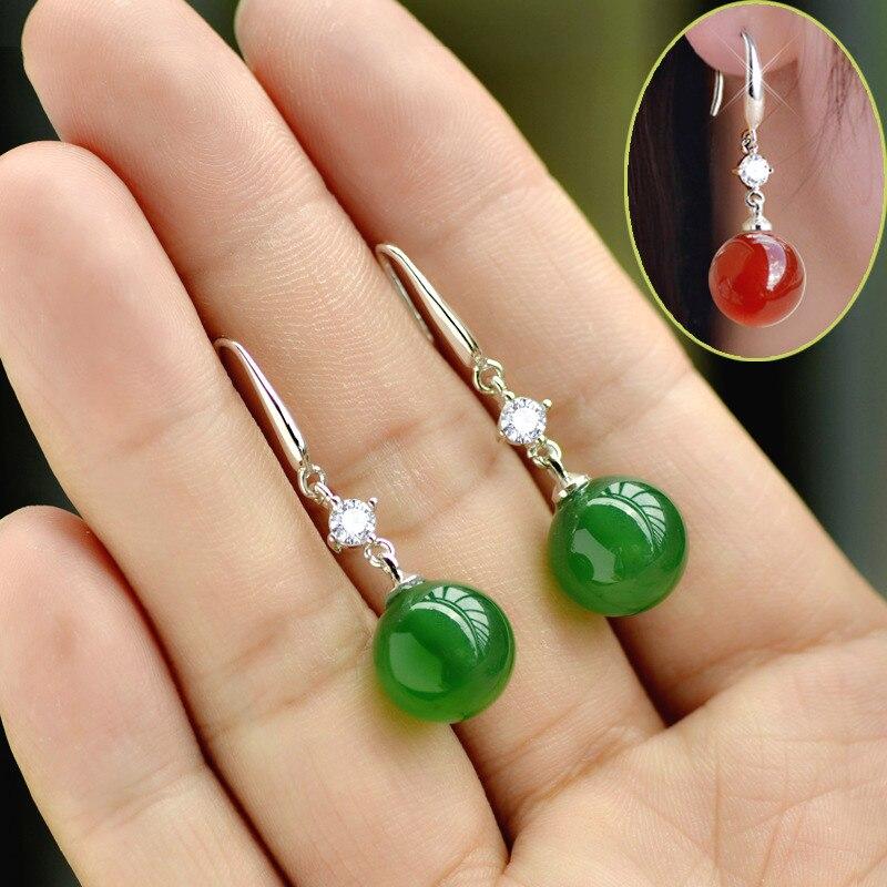 925 sliver esmeralda jade jóias brincos natural verde ágata calcedônia pedra preciosa gota granada diamante para mulher