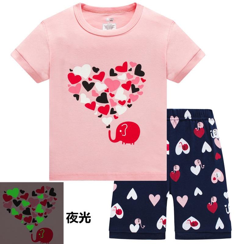 2019 Summer Children Cartoon Pyjamas Clothing Sets Girls Short Sleeve Tops+Pants Suit Baby Kids Pajamas Set for 2-7T