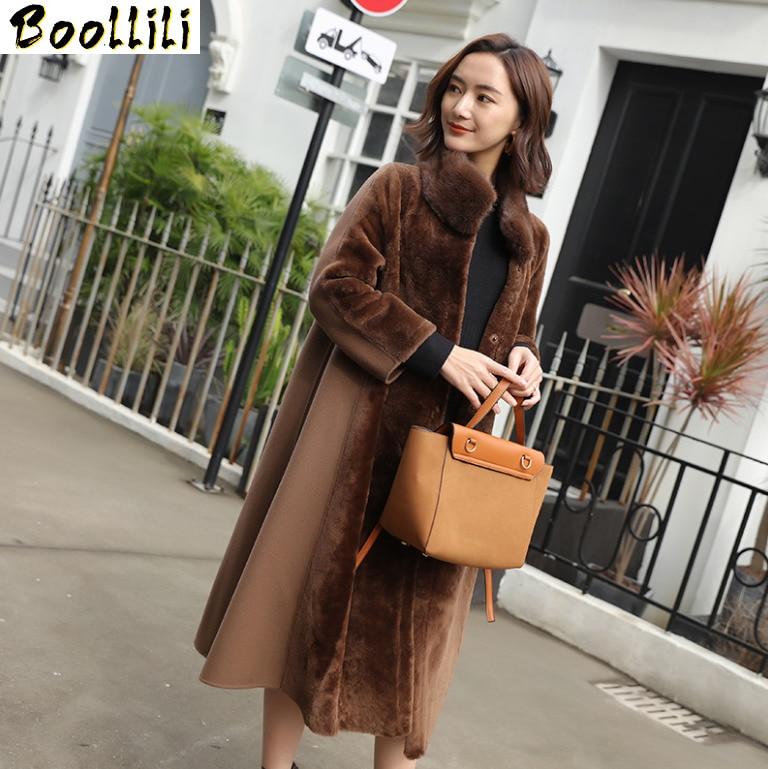 Boollili-معطف من الفرو الطبيعي للنساء ، سترة من الصوف 2020 ، ملابس نسائية ، ياقة من فرو المنك ، معطف شتوي من الصوف الحقيقي
