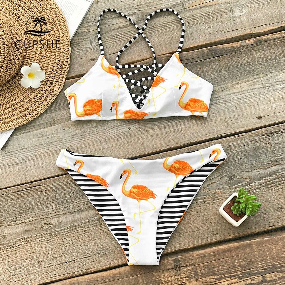 Conjunto de Bikini Reversible con flamencos naranja caliente, Tanga con cordones para mujer, trajes de baño de dos piezas 2020, trajes de baño Sexy para niña