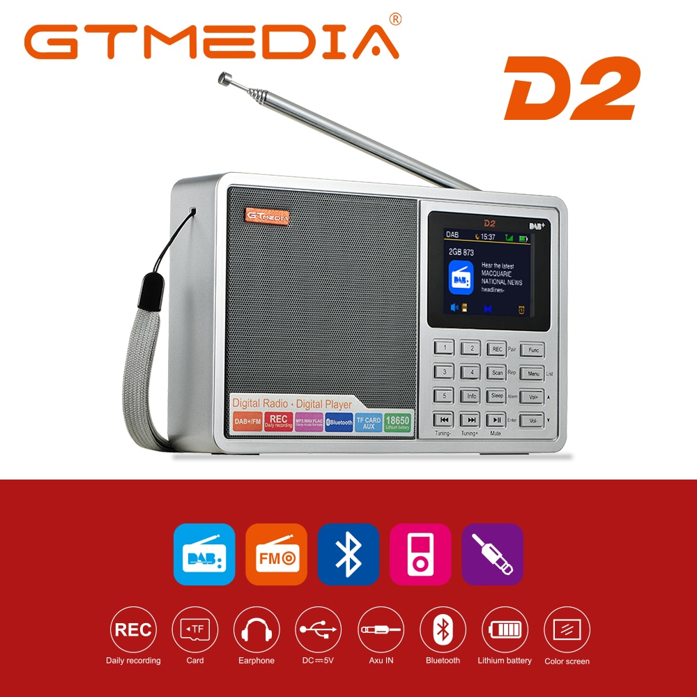 GTMEDIA D2/D1 Portable Radio FM DAB stereo/ RDS Multi Band Radio Speaker with LCD Display Alarm Cloc