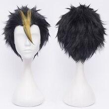 Haikyuu!! Perruque danime Blonde Nishinoya Yuu Cosplay accessoires court noir résistant à la chaleur cheveux Cosplay déguisement perruques + bouchon de perruque gratuit