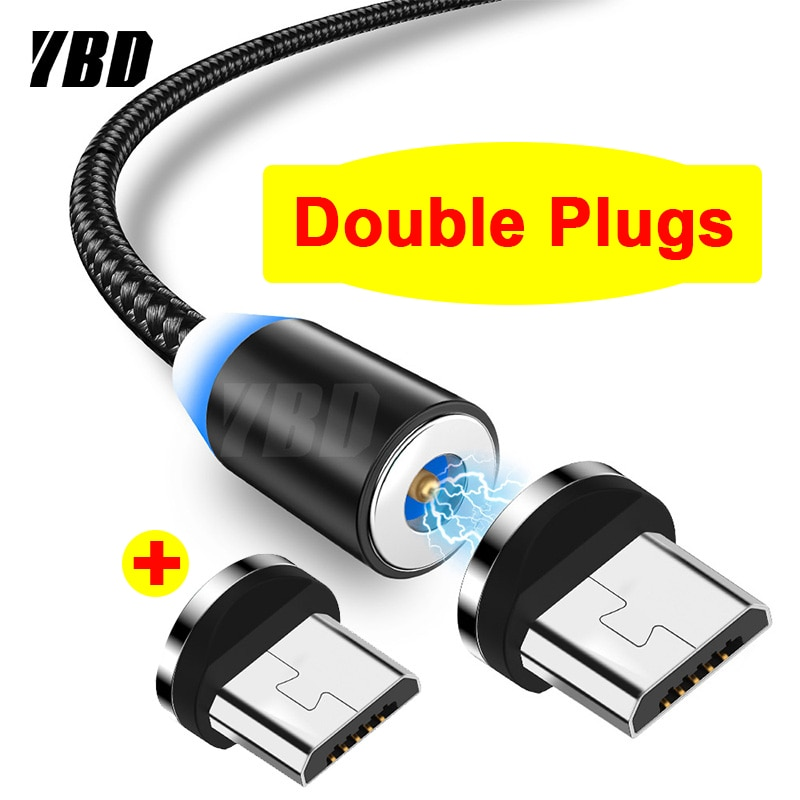 YBD 1M Double Micro USB Magnetic Cable for Samsung Xiaomi Redmi Huawei Honor Magnet Charger Mobile Phone USB Charging Cord