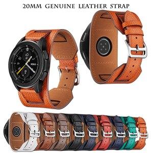 Cross Grain Genuine Leather Watchband For Samsung Galaxy Watch 3 41mm/42mm/Active 2 1 40mm 44mmm Universal Bracelet 20MM Strap