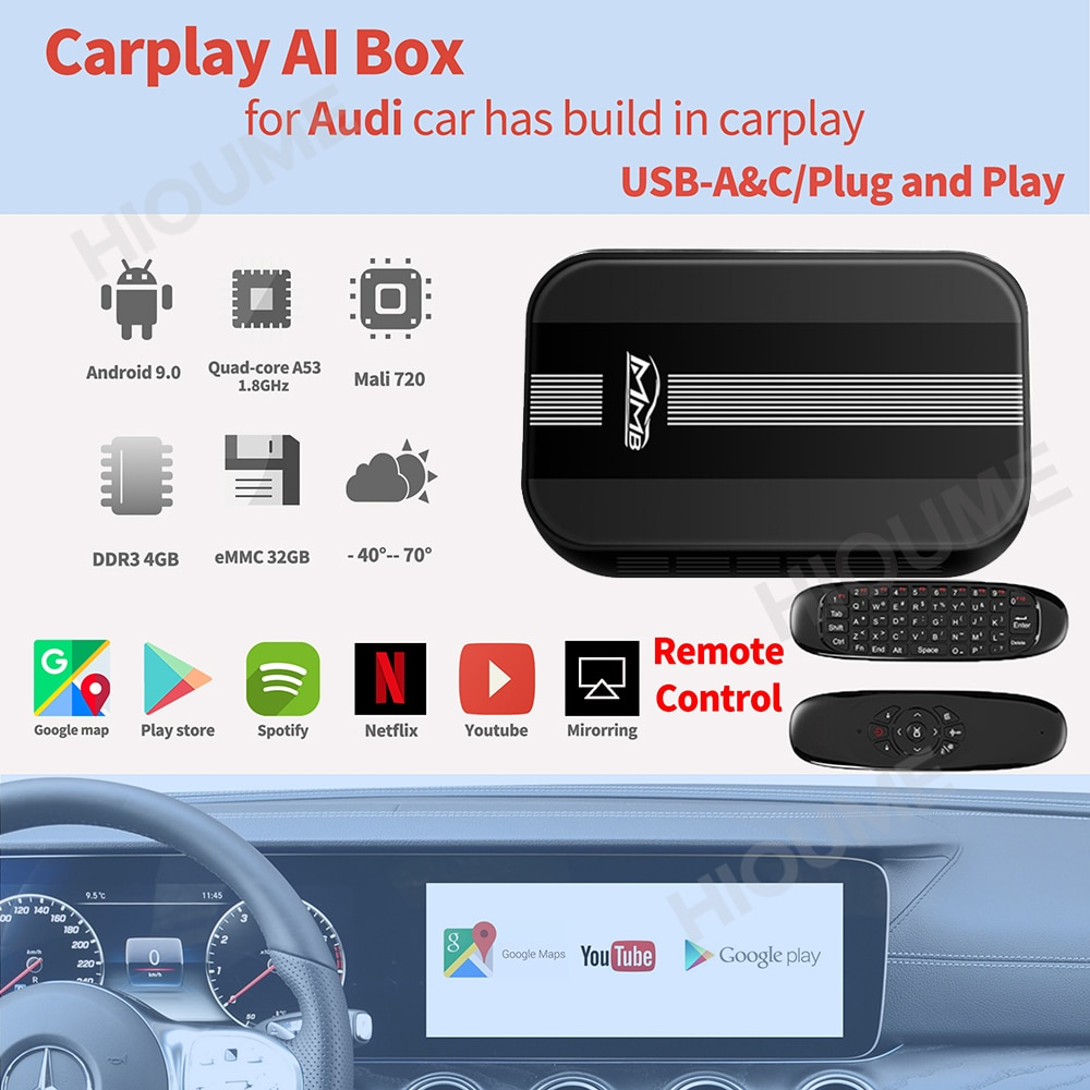 MMB CarPlay أندرويد AI صندوق 4 + 32G اللاسلكية ميرورلينك صندوق الوسائط المتعددة لأودي A3 A4 A6 A7 A8 Q5 Q7 Q8 RS R8 TT 2017-2020