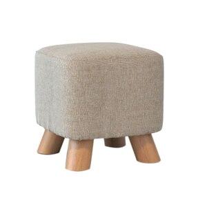 Round Backless Bathroom Leisure Cloth Solid Wood Small Stool Shoe Stool Stool Board 4 Legs