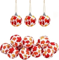 fall hanging ball ornament fabric wrapped hanging ball maple leaf balls autumn ornaments for thanksgiving day party home decor
